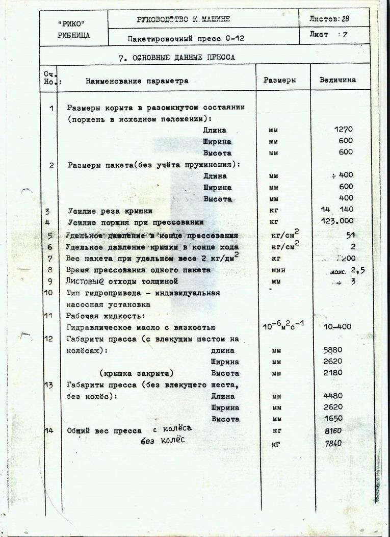гидравлическая схема пресса рико с 12